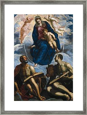 Mary With The Child, Venerated By St. Marc And St. Luke Framed Print by Tintoretto