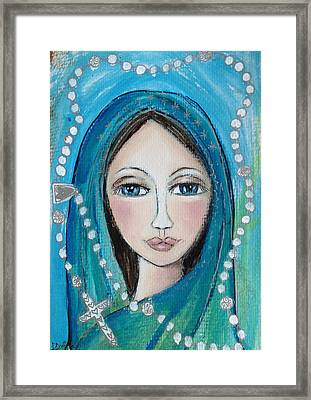 Mary With White Rosary Beads Framed Print by Denise Daffara
