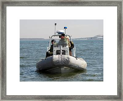 Maryland Natural Resources Police Boat Framed Print by Ben Schumin
