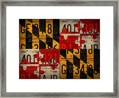 Maryland State Flag Recycled Vintage License Plate Art Framed Print by Design Turnpike