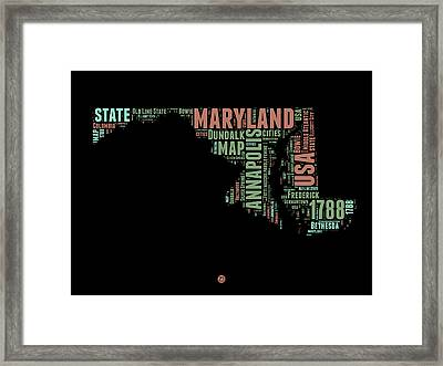 Maryland Word Cloud 1 Framed Print by Naxart Studio