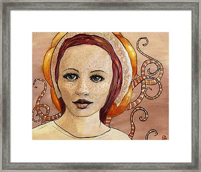 White Dress Framed Print featuring the painting Mascara by Ethan Harris