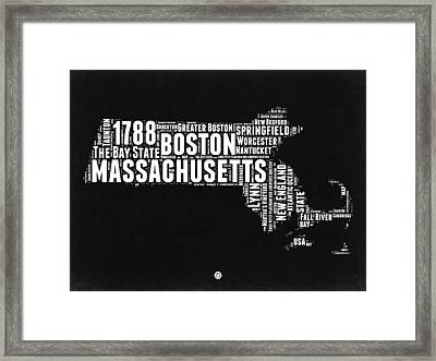 Massachusetts Black And White Word Cloud Map Framed Print by Naxart Studio