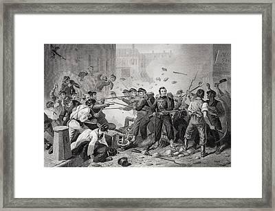 Massachusetts Militia Passing Through Framed Print by Vintage Design Pics