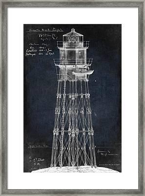 Massachusetts Minot's Ledge Lighthouse Blueprint  1850 Framed Print by Daniel Hagerman