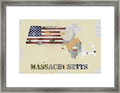Massachusetts Mixed Media Map Framed Print by Mihaela Pater