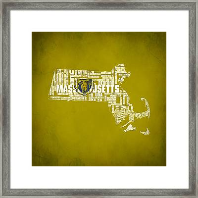 Massachusetts Typographic Map Framed Print by Brian Reaves