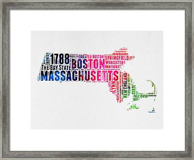 Massachusetts Watercolor Word Cloud Map  Framed Print by Naxart Studio