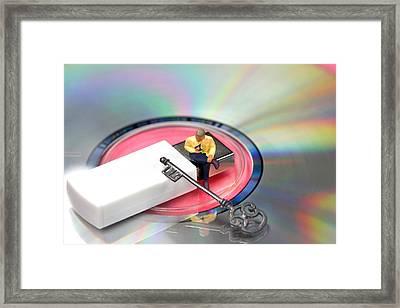 Master Of Data Framed Print by Elke Rampfl-Platte