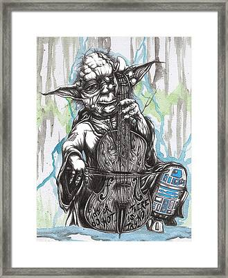 Master Yoda Charms Baby R2 With The Soothing Sound Of His Homegrown Cello Framed Print by Tai Taeoalii