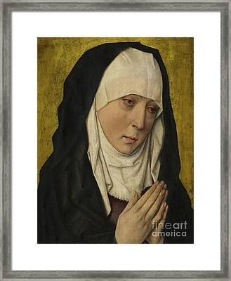 Mater Dolorosa  Sorrowing Virgin Framed Print by Dieric the Elder Bouts