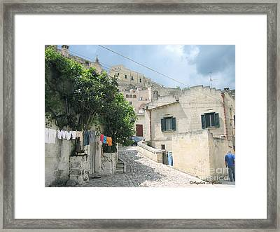 Matera's Colorful Laundry Framed Print by Italian Art