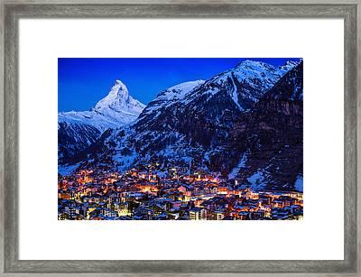 Matterhorn At Night Framed Print by Weerakarn Satitniramai