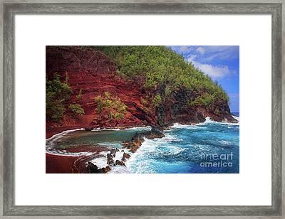 Maui Red Sand Beach Framed Print by Inge Johnsson