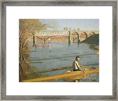 Max Schmitt In A Single Scull Framed Print by Thomas Eakins
