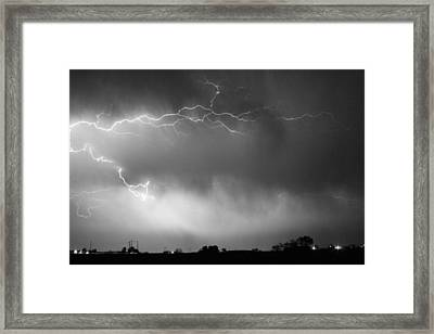 May Showers 2 In Bw - Lightning Thunderstorm 5-10-2011 Boulder C Framed Print by James BO  Insogna