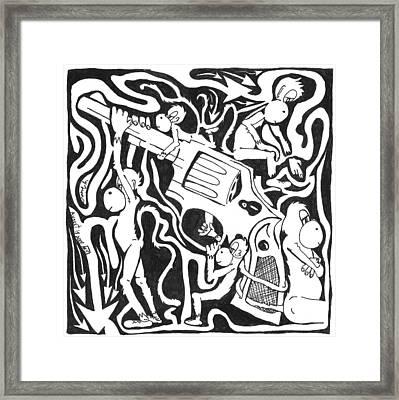 Maze Of A Team Of Monkeys Firing A Service Revolver Framed Print by Yonatan Frimer Maze Artist