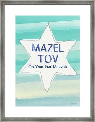 Mazel Tov On Your Bar Mitzvah-  Art By Linda Woods Framed Print by Linda Woods