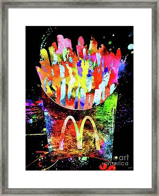 Mcdonald's French Fries Grunge Framed Print by Daniel Janda
