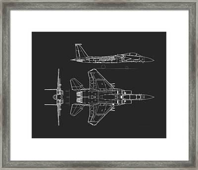 Mcdonnell Douglas F-15 Eagle Grey Diagram Framed Print by L Brown