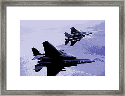 Mcdonnell Douglas F-15 Eagles In Action Framed Print by L Brown
