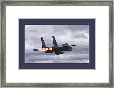 Mcdonnell Douglas F-15 Strike Eagle In Action With Afterburners Triple Border Framed Print by L Brown