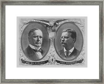 Mckinley And Roosevelt Election Poster Framed Print by War Is Hell Store