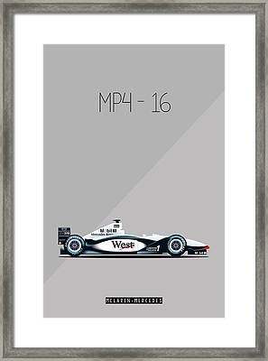 Mclaren Mercedes Mp4-16 F1 Poster Framed Print by Beautify My Walls