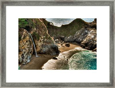 Mcway Falls Hwy 1 California Framed Print by Connie Cooper-Edwards
