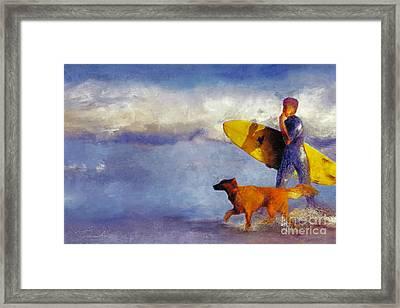 Me My Dog And My Board Framed Print by Danuta Bennett