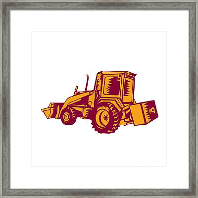 Mechanical Digger Excavator Woodcut Framed Print by Aloysius Patrimonio