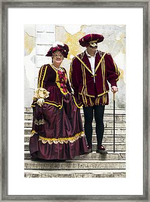 Medieval Couple 2015 Carnevale Di Venezia Italia Framed Print by Sally Rockefeller