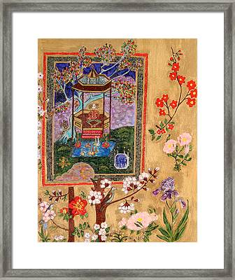 Meditating Master In Tent Framed Print by Maggis Art