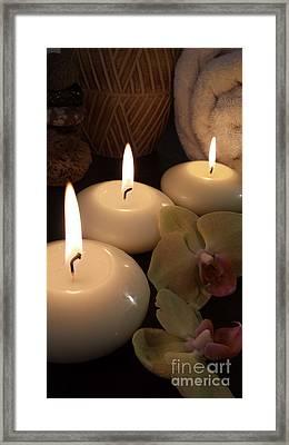 Meditation Spa Candles IIi Still Life Framed Print by Beverley Douglas