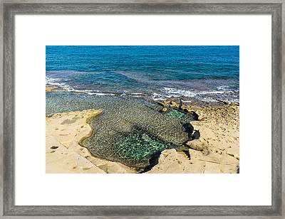 Mediterranean Delight - Maltese Natural Beach Pool With A Sleeping Giant Framed Print by Georgia Mizuleva
