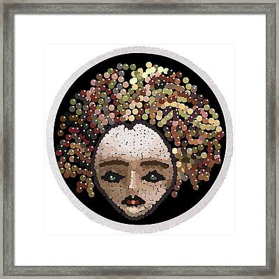 Medusa Bedazzled Round Beach Towel Framed Print by R  Allen Swezey