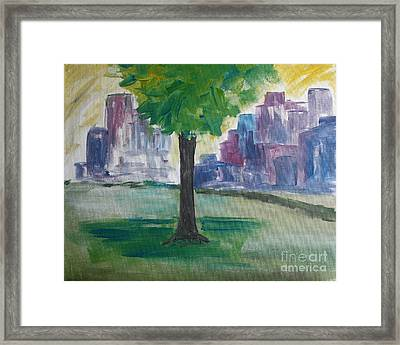 Meet Me By Our Tree In Central Park Framed Print by Julie Lueders