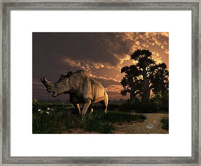 Megacerops At Breakfast Framed Print by Daniel Eskridge