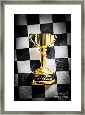 Melbourne Cup Pin On Mens Chequered Fashion Tie Framed Print by Jorgo Photography - Wall Art Gallery