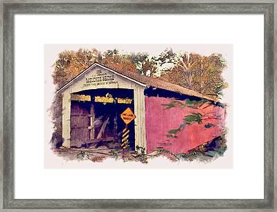 Melcher Bridge Watercolor Framed Print by Robert Turner