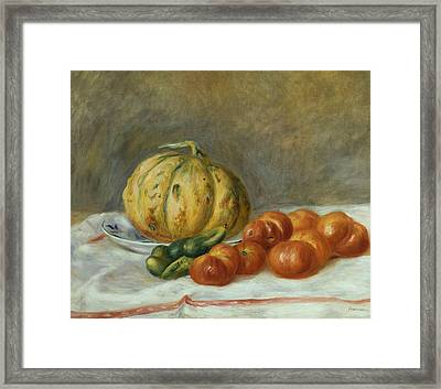 Melon And Tomates Framed Print by Pierre Auguste Renoir