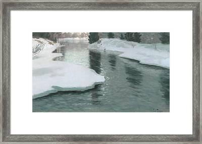 Melting Snow Framed Print by Fritz Thaulow
