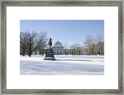 Memorial Hall In The Snow Framed Print by Bill Cannon