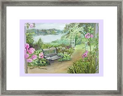 Memory Garden At Lake Pocotopaug Framed Print by Katherine  Berlin
