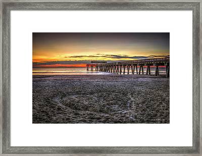 Memory In The Sand Tybee Island Pier Sunrise Art Framed Print by Reid Callaway