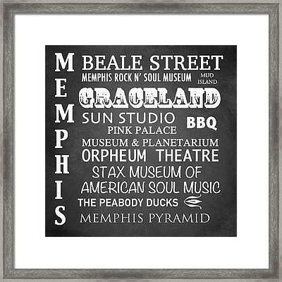 Memphis Famous Landmarks Framed Print by Patricia Lintner