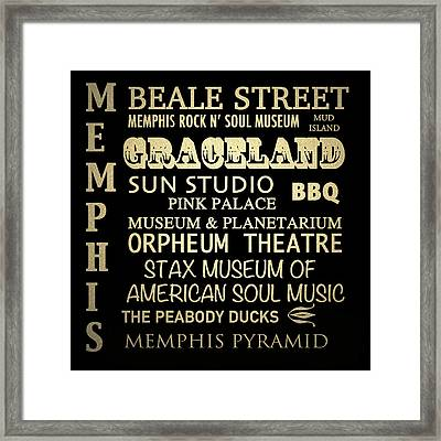 Memphis Tennessee Famous Landmarks Framed Print by Patricia Lintner