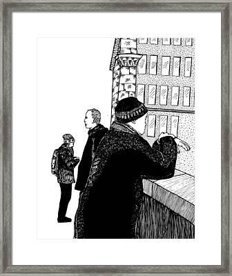 Men At Berlin Bridge Framed Print by Karl Addison
