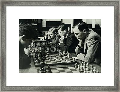Men Concentrate On Chess Matches, 1940s Framed Print by Archive Holdings Inc.