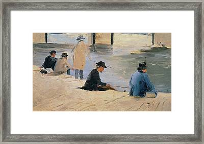 Men Fishing From A Jetty Framed Print by Georges Pierre Seurat